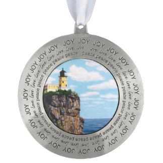 Split Rock Lighthouse Round Pewter Ornament