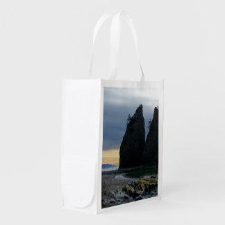 Split rock on Rialto Beach Olympic National Park Grocery Bag