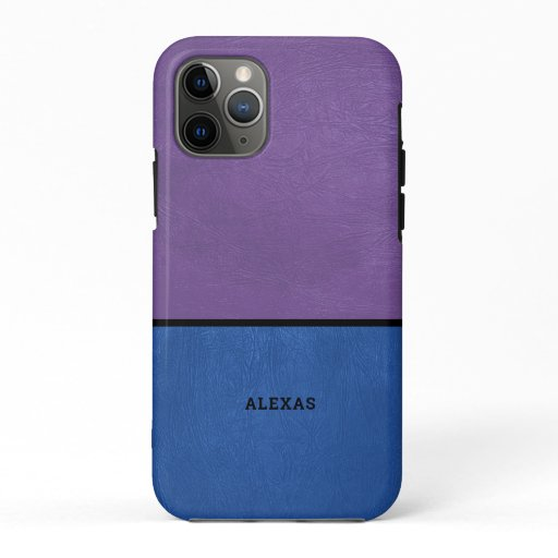 Split screen light-gray and purple faux leather iPhone 11 pro case