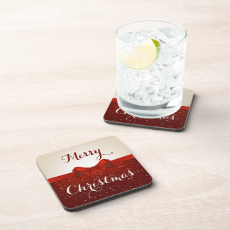 Split Snow and Red Ribbon Drink Coaster