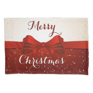 Split Snow and Red Ribbon Pillow Case