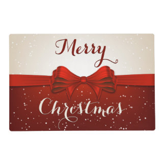 Split Snow and Red Ribbon Placemat