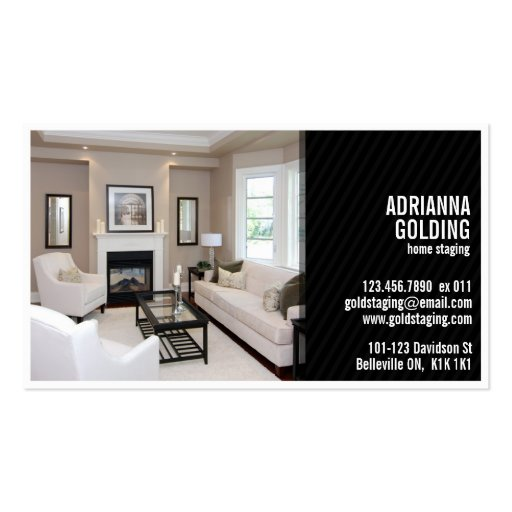 Split Staging with Photo - Black Double-Sided Standard Business Cards (Pack Of 100)