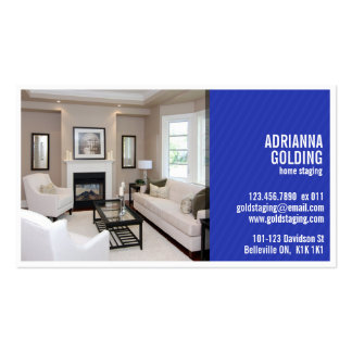Split Staging with Photo - Blue Business Card Template