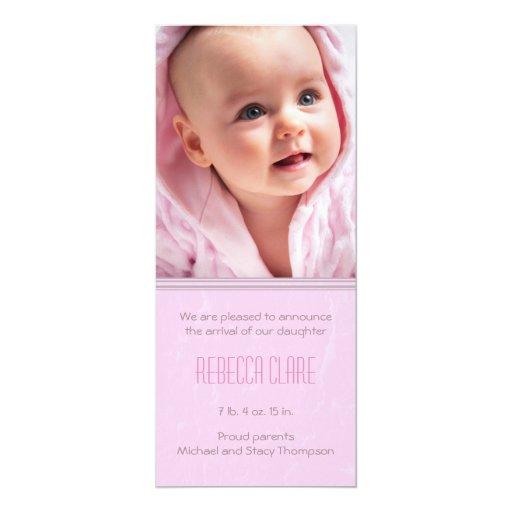 Split Textured Baby Girl Birth Announcement