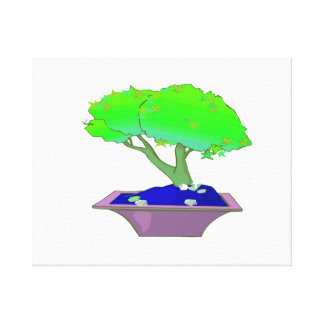 Split trunk bonsai in pot tree graphic.png canvas print