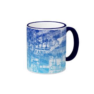 Splurge Blue Grunge Art Coffee Cup Mug