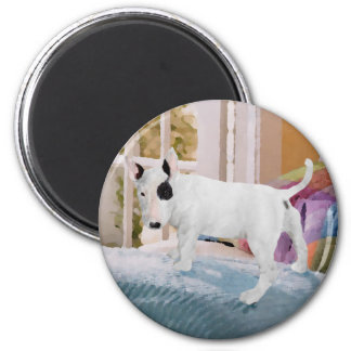 Spoiled? Bull Terrier Puppy . . . Not 2 Inch Round Magnet