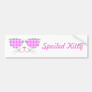 Spoiled Kitty Cat Face in Pink Shades graphic Bumper Sticker