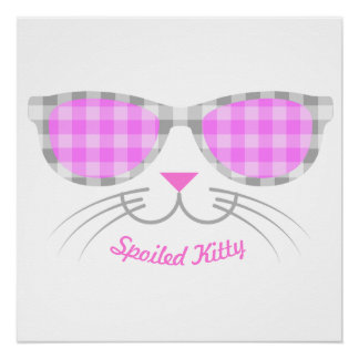 Spoiled Kitty Cat Face in Pink Shades graphic Poster