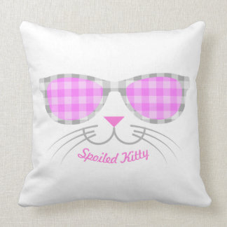 Spoiled Kitty Cat Face in Pink Shades graphic Throw Pillow