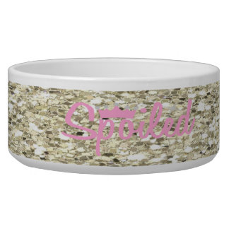 Spoiled Silver Glitter Dog Bowl