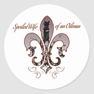 spoiled wife purple classic round sticker