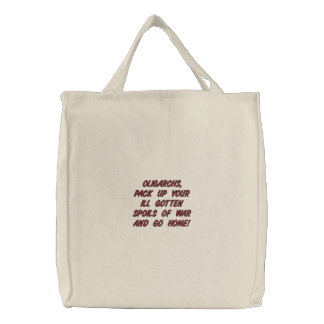 SPOILS OF WAR PACKING CO EMBROIDERED TOTE BAG