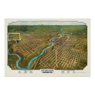 Spokane, mapa panorámico de WA - 1905 Posters