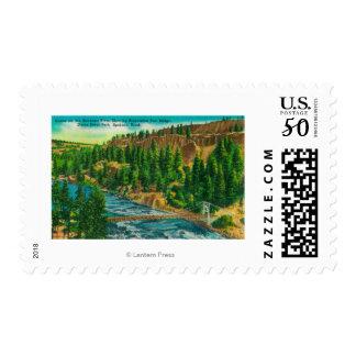 Spokane River and Suspension Foot Bridge Postage