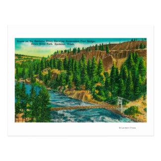 Spokane River and Suspension Foot Bridge Postcard