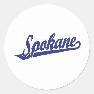 Spokane script logo in blue sticker