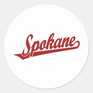 Spokane script logo in red stickers