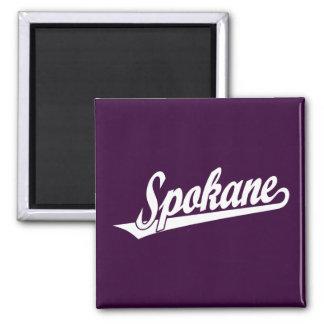 Spokane script logo in white 2 inch square magnet