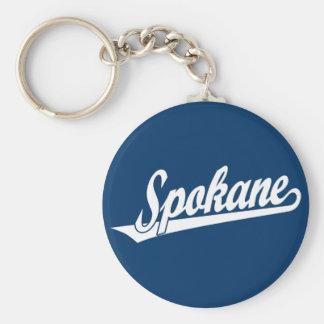 Spokane script logo in white keychain