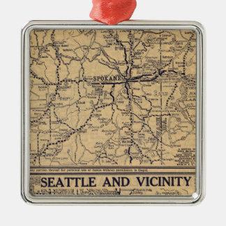 Spokane, Seattle Adorno Navideño Cuadrado De Metal