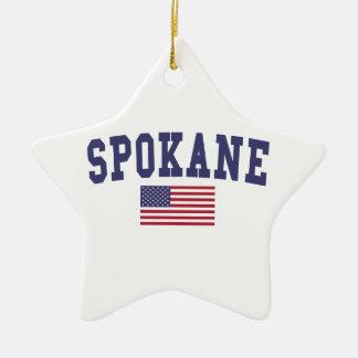 Spokane US Flag Ceramic Ornament
