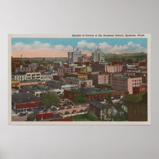 Spokane, WA - opinión del horizonte del centro de  Posters