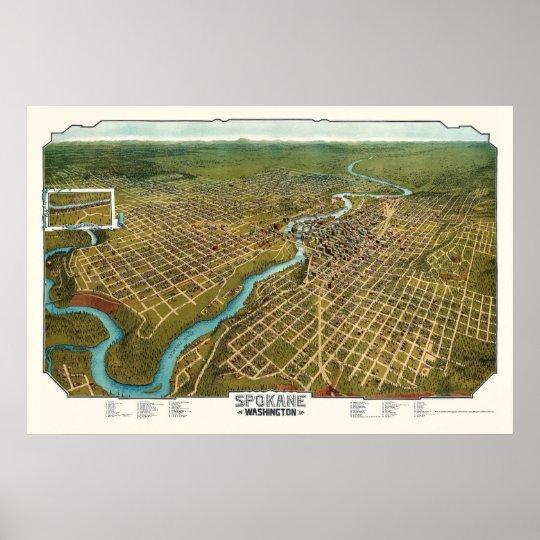 Spokane, WA Panoramic Map - 1905 Poster