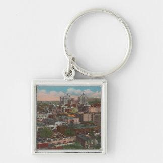 Spokane, WA - Skyline View of Downtown Silver-Colored Square Keychain