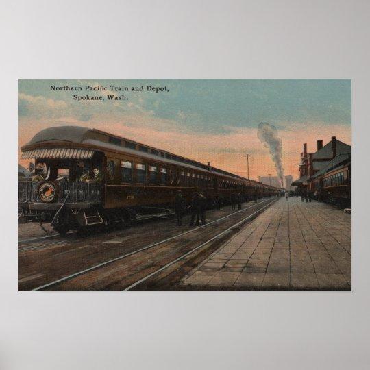 Spokane, WA - View of N. Pacific Train & Depot Poster