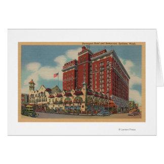 Spokane WA - vista del hotel 2 de Davenport Felicitación