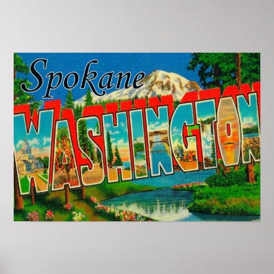 Spokane, Washington - Large Letter Scenes 3 Poster