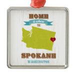 Spokane, Washington Map – Home Is Where The Heart Metal Ornament