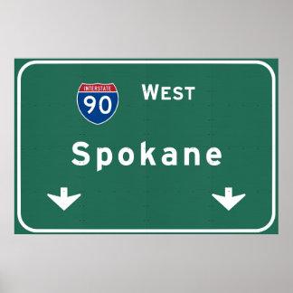 Spokane Washington wa Interstate Highway Freeway : Poster