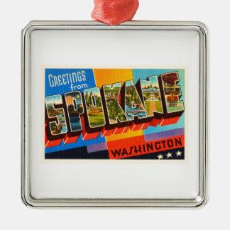 Spokane Washington WA Old Vintage Travel Souvenir Metal Ornament