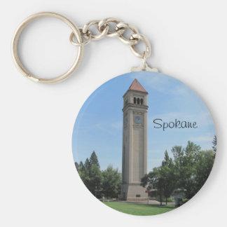 Spokane's Old Railroad Clock Tower Basic Round Button Keychain
