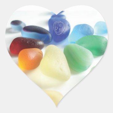 Peblsart Spokes of Sea Glass Heart Sticker