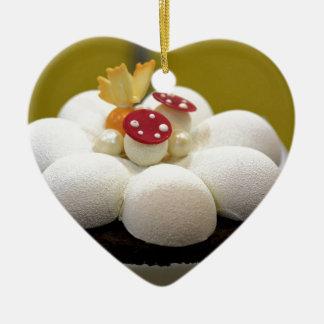 Sponge cake ceramic ornament
