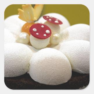 Sponge cake square sticker