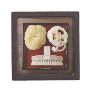 Sponge, loofah, brush on red tray gift box
