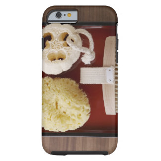 Sponge, loofah, brush on red tray tough iPhone 6 case