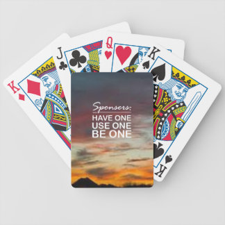 Sponsers, Have One, Use One, Be One Bicycle Card Deck
