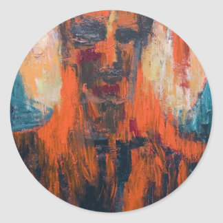 Spontaneous Human Combustion (abstract  portrait) Classic Round Sticker