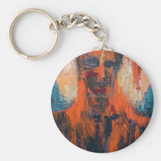 Spontaneous Human Combustion (abstract  portrait) Keychain