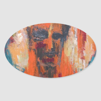 Spontaneous Human Combustion (abstract  portrait) Oval Sticker