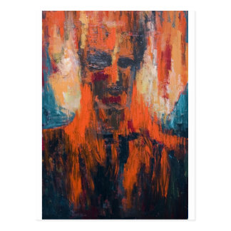 Spontaneous Human Combustion (abstract  portrait) Postcard
