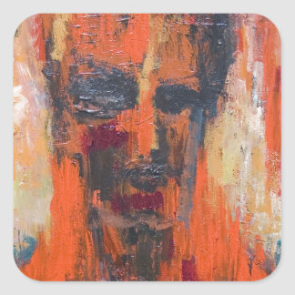 Spontaneous Human Combustion (abstract  portrait) Square Sticker