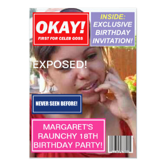 "Spoof mag Celebrity gossip custom Birthday invite 5"" X 7"" Invitation Card"