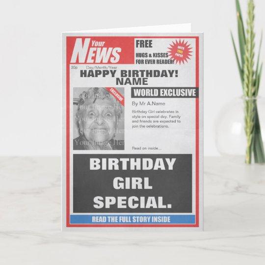Spoof Newspaper Photo Upload Birthday Card Zazzle
